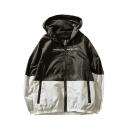 Mens Trendy Color Block Zipper Pocket Long Sleeve Windbreaker Zip Up Hooded Jacket
