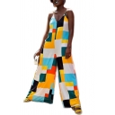 Womens Chic Stylish Multicolor Check Printed Plunge V Neck Straps Sleeveless Casual Loose Jumpsuits