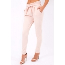 Trendy Womens Plain Paperbag Waist Self Tie Fitted Tapered Pants