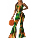 Womens Hot Stylish Green Sleeveless Scoop Neck Tie Waist Flare Leg Tie Dye Skinny Jumpsuit