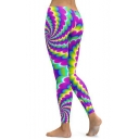 Cool Fancy Elastic Waist Multicolor Abstract Printed Fitted Legging Pants