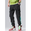 Men's New Fashion Colorblock Double Flap Pocket Side Elastic Cuff Casual Cotton Relaxed Cargo Pants