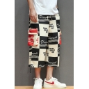 Men's Summer New Fashion Colorblock Plaid Popular Letter NEVER GIVE IT UP Printed Casual Cropped Loose Cargo Pants