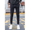 Men's New Fashion Stripe Pattern Drawstring Waist Casual Cotton Suit Pants Dress Pants