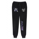 Men's Popular Fashion Letter W Printed Drawstring Waist Casual Sports Sweatpants
