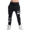 Men's Popular Fashion Letter Skull Printed Drawstring Waist Casual Comfortable Cotton Sports Sweatpants