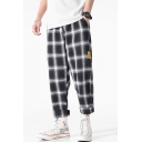 Men's Summer New Fashion Letter Patchwork Plaid Pattern Casual Loose Wide Leg Pants