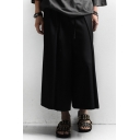 Men's Popular Fashion Solid Color Black Cotton Culottes Wide Leg Pants