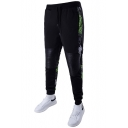 Men's Popular Fashion Snake Printed Knee Pleated Leather patched Drawstring Waist Black Cotton Sweatpants