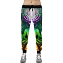 Guys Popular Fashion Figure Cosplay 3D Printed Drawstring Waist Green Casual Jogging Sweatpants