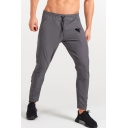 Men's Simple Fashion Logo Printed Zippered Cuffs Drawstring Waist Casual Slim Training Pencil Pants