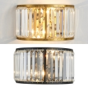 Luxurious Drum Shade Wall Light Metal Black/Gold Sconce Light with Crystal for Restaurant Foyer