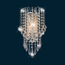 Luxurious Crystal Bead Wall Sconce 2 Bulbs Metal Sconce Lamp in Chrome for Hallway Restaurant