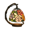 Rustic Tiffany Rose Table Light with Dome Shade Stained Glass One Light Night Light for Child Bedroom
