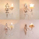 Stair Hotel Flower Wall Light with Crystal Bead 1 Light Elegant Gold Sconce Light