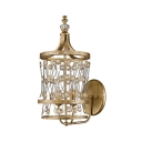 Candle Restaurant Wall Sconce with Crystal Bead Metal 2 Heads Vintage Stylish Wall Lamp in Antique Brass
