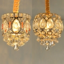 Clear Crystal Decoration Pendant Light 1 Head Modern Stylish Mini Chandelier in Gold for Hallway