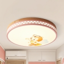 Cartoon Bee LED Ceiling Lamp Acrylic Warm/White Flush Mount Light in Green/Pink/White/Yellow for Baby Room