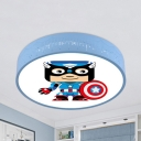 Acrylic Movie Character Flush Mount Light Cartoon LED Ceiling Lamp in Blue for Boys Bedroom