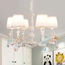 Kids Bunny Shaped Chandelier Metal 6 Lights White Pendant Lamp with Tapered Shade for Kindergarten