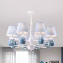 Blue Orb Fish Chandelier 3/5/6/8 Lights Lovely Metal Suspension Light for Boys Girls Bedroom