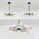 Twig Cloth Shop Hanging Lamp Metal Acrylic 30/45/54 Lights Nordic Style Chandelier in Black