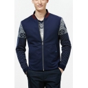 Mens Fashion Patchwork Stand Collar Long Sleeve Zip Up Fitted Navy Business Jacket