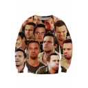 Funny 3D Figure Face Pattern Round Neck Long Sleeve Casual Loose Sweatshirt