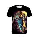 Stylish Clown 3D Pattern Basic Round Neck Short Sleeve Black T-Shirt