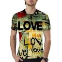 Cool Street Letter LOVE Graffiti Printed Round Neck Short Sleeve Unisex T-Shirt
