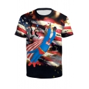 Fashion USA Flag Funny Superman Cat 3D Printed Short Sleeve T-Shirt
