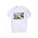Vintage God Pattern Basic Round Neck Short Sleeve White T-Shirt