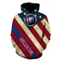Stylish Simple Logo Star Striped Flag Print Casual Loose Pullover Hoodie