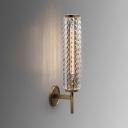 Modern Brass Wall Light Tube Metal Sconce Light with Clear Crystal for Bathroom Mirror