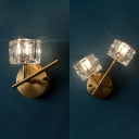 Cube Shade Wall Light 1/2 Lights Modern Style Metal Sconce Light with Clear Crystal for Living Room