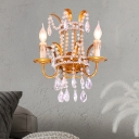 Villa Hotel Candle Wall Light with Crystal Metal 2 Lights Antique Style Sconce Light in Gold