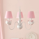 Animal Kids Bedroom Pendant Light Metal 3 Lights Modern Stylish Chandelier with Dot Shade