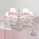 Metal Unicorn Pendant Light Kindergarten Living Room 5/6 Lights Lovely Chandelier in Blue