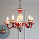 Lovely Candle Hanging Lamp with Coffee Cup 5 Lights Glass Chandelier Chandelier in Red for Restaurant
