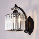 Simple Style Black Wall Light Cube Shade 1 Light Glittering Crystal Wall Sconce for Kitchen