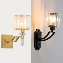 Classic Style Drum Sconce Iron 1 Light Black/Gold Finish Wall Light with Crystal for Stair