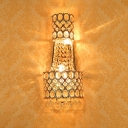 Metal Wall Light with Striking Crystal Hotel Two Lights European Style Wall Sconce in Gold