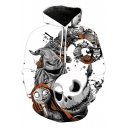 Jack Skellington 3D Comic Character Printed Long Sleeve White Pullover Drawstring Hoodie