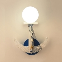 White Anchor Wall Light with Sphere Shade 1 Head Nautical Style Metal Sconce Light for Kindergarten