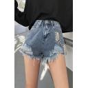 Street Fashion Studded Embellished High Rise Shredded Frayed Hem Denim Shorts
