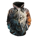 Ethnic Style Cool Tribal Wolf Printed Long Sleeve Casual Sport Pullover Drawstring Hoodie