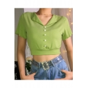 Summer Stylish Popular Avocado Green Solid Color Chic Pearl Button Lapel Collar Short Sleeve Crop Tee