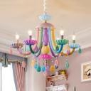 5/6 Heads Candle Pendant Light with Teardrop Decoration Macaron Loft Resin Multi-Color Chandelier for Cloth Shop