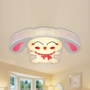 Cute Smiling Bunny Ceiling Lamp Metal Stepless Dimming/White LED Flush Mount Light in Pink for Nursing Room