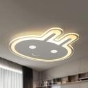 Animal Smiling Bunny Flush Mount Light Acrylic Warm/White Lighting LED Ceiling Lamp for Girls Bedroom